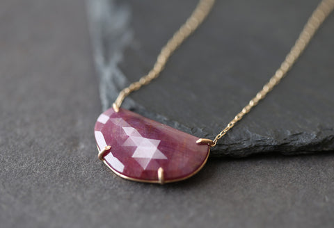 Natural Rose-Cut Pink Sapphire Necklace