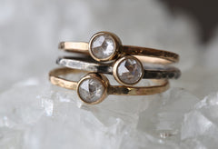 Custom Clear Rose Cut Diamond Stacking Ring