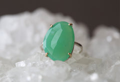 Natural Rose Cut Green Chrysoprase Ring