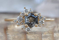 Hexagon Cluster Diamond Engagement Ring