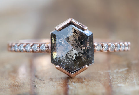 Hexagon Cut Black Diamond Engagement Ring with Pavé Band