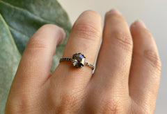 Hexagon Cut Black Diamond Engagement Ring with Black Pavé Band