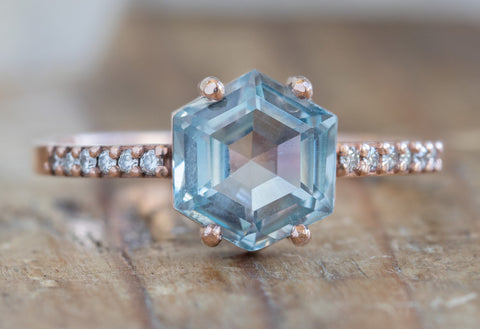 Hexagon Cut Montana Sapphire Engagement Ring with Pavé Band