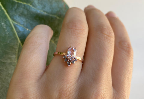 Hexagon Cut Pink Sapphire Engagement Ring with Attached Sunburst