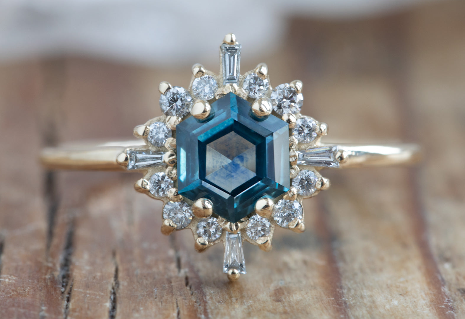 Hexagon Cut Montana Sapphire Engagement Ring with Vintage Halo