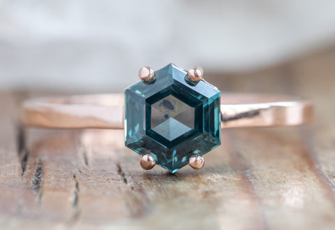 Hexagon Cut Montana Sapphire Engagement Ring