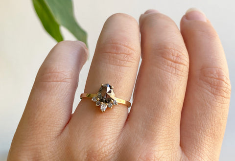 Rose Cut Black Diamond Engagement Ring with Attached Sunburst