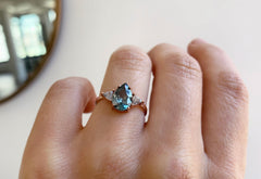 One of a Kind Montana Sapphire + White Diamond Engagement Ring