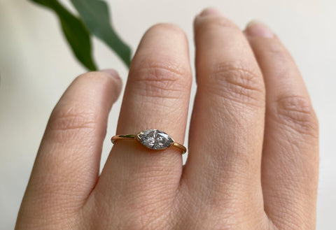 The Bryn Ring with a Marquise Salt + Pepper Diamond