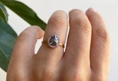 One of a Kind Rose Cut Salt + Pepper Diamond Engagement Ring with Halo