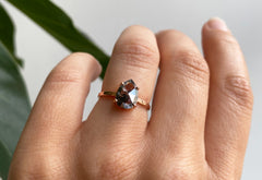 One Of A Kind Rose Cut Black Diamond Solitaire Engagement Ring