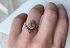 One of a Kind Pink Pear Cut Diamond Engagement Ring with Pavé Halo