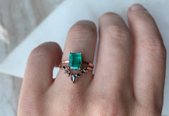 Large One of a Kind Emerald Engagement Ring