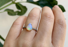 The Willow Ring with a Pear Opal