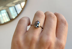 Black Hexagon Diamond Engagement Ring with Knife Edge Band