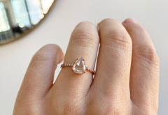 Rose Cut White Diamond Engagement Ring with Pavé Diamond Band