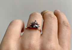 Half Moon Black Diamond Engagement Ring with White Diamond Sunburst
