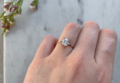 Emerald-Cut White Diamond Engagement Ring