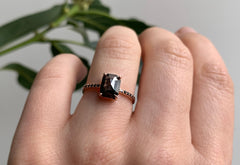 Emerald Cut Black Diamond Engagement Ring with Pavé Band