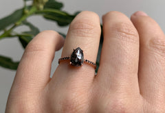 Rose Cut Black Diamond Engagement Ring with Black Pavé Band