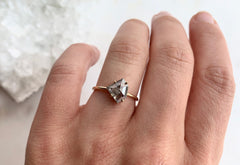 Asymmetric Shield Cut Salt + Pepper Diamond Engagement Ring