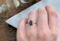 One of a Kind Hexagon Cut Montana Sapphire Engagement Ring