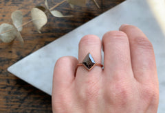 Geometric Black Diamond Engagement Ring with Knife Edge Band