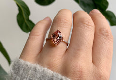 One Of A Kind Malaya Garnet Engagement Ring with Pavé Diamond Band
