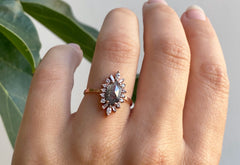 One of a Kind Salt + Pepper Hexagon Diamond Engagement Ring with Vintage Halo