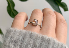 One Of A Kind Rose Cut Opalescent Diamond Engagement Ring