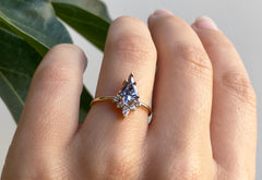 Kite-Shaped Spinel Engagement Ring with Attached Diamond Sunburst