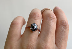 Black Hexagon Diamond Engagement Ring with Pavé Band