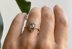 Emerald Cut Salt + Pepper Diamond Engagement Ring with Halo