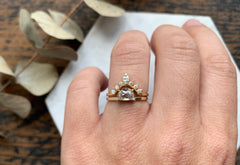 One of a Kind Half Moon Diamond Engagement Ring