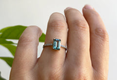 Emerald Cut Teal Sapphire Engagement Ring with Pavé Band
