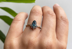 Pear-Cut Sapphire Engagement Ring with Attached Sunburst