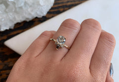 Light Blue Sapphire Engagement Ring with Diamond Sunburst