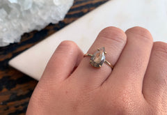 One Of A Kind Grey-Green Rose Cut Diamond Engagement Ring