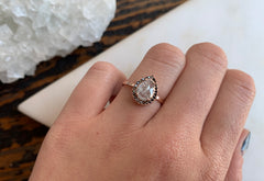 Black + White Rose Cut Diamond Engagement Ring with Pavé Halo
