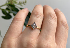 Kite-Shaped Opalescent Grey Diamond Engagement Ring