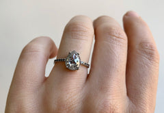 Rose Cut Salt + Pepper Diamond Engagement Ring with Black Pavé Band
