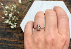 Rose Cut Pink-Red Diamond Engagement Ring with Pavé Band