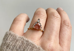 Sunstone Trillion Engagement Ring with Attached Diamond Sunburst