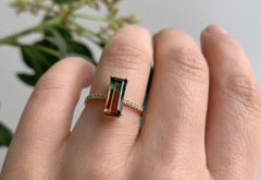 One of a Kind Emerald Cut Watermelon Tourmaline with Pavé Band