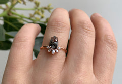 Rose Cut Black Diamond Engagement Ring with Attached Geometric Sunburst