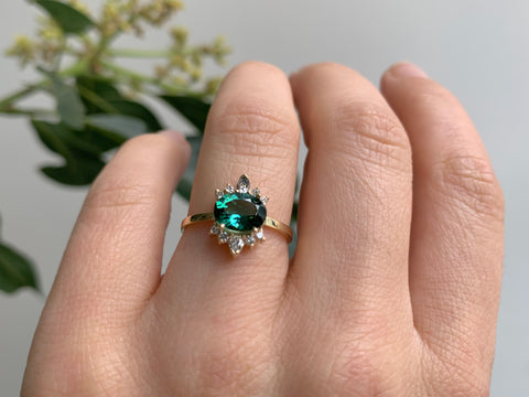 Oval Cut Teal Tourmaline Cluster Engagement Ring