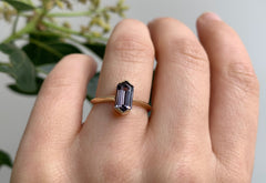 Hexagon Cut Violet Spinel Engagement Ring with Knife Edge Band