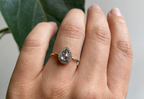 Rose Cut Salt + Pepper Diamond Engagement Ring with Halo