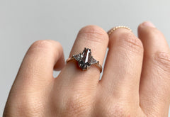 One Of A Kind Geometric Three Stone Salt + Pepper Diamond Engagement ring