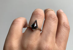 Step Cut Black Diamond Engagement Ring with Knife Edge Band